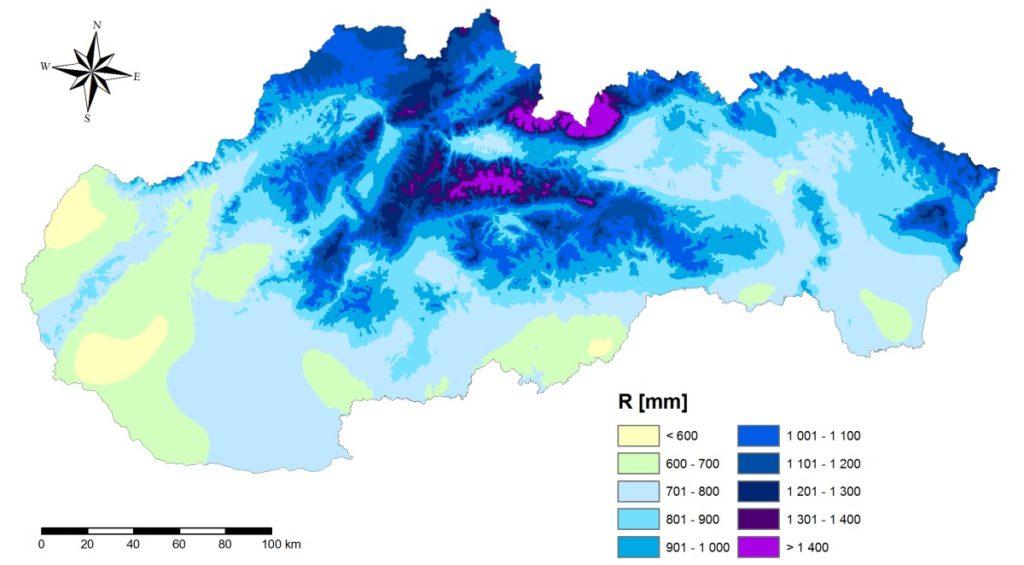 Dážďový úhrn pre výpočet veľkosti nádrže na vodu